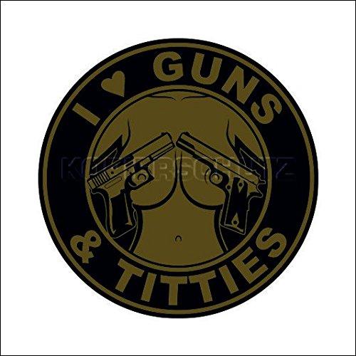 591 < Guns & Titties > Aufkleber/Sticker/Oldschool/Retro/Rockabilly