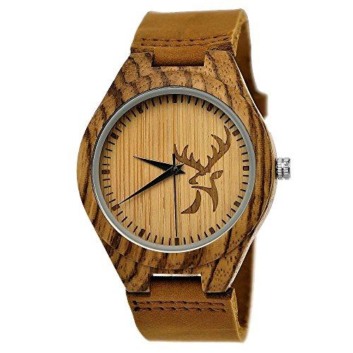 Handgefertigte Holzwerk Germany ® Designer Hirsch Öko Unisex Damen-Uhr Herren-Uhr Öko Natur Holz-Uhr Leder Armband-Uhr Analog Klassisch Quarz-Uhr in Braun mit Hirschmotiv