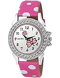 Matrix Analog Pink Dial,Pink Leather Strap ,Stone Studded Women's & Girls Watch-WN-31