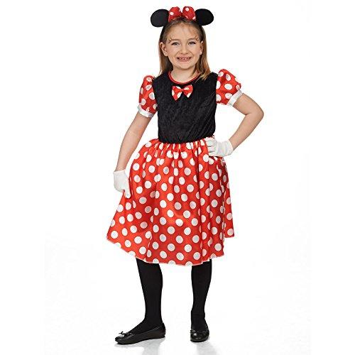 Kinder Für Und Mickey Minnie Kostüme (Minnie Mäuschen Kinder Kostüm Kleid rot schwarz für Karneval und Fasching -)