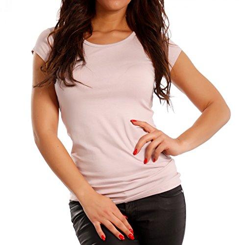 Made Italy - T-shirt de sport - Slim - Uni - Manches Courtes - Femme Rose