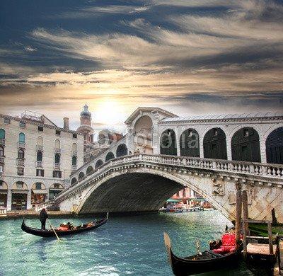 """Poster-Bild 30 x 30 cm: """"Venice with Rialto bridge in Italy"""", Bild auf Poster"""
