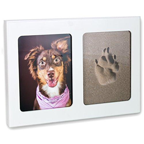pet imprint Pfotenabdruck 3D Set Formschaum grau, Bilderrahmen aus Holz in weiß Hund, Katze ohne Gips -