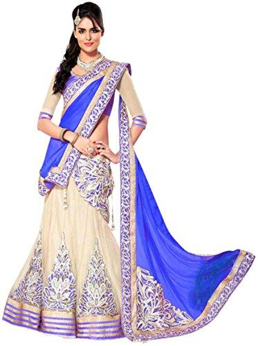 Seller King Women\'s Net Lengha Choli (Blue)