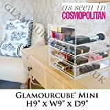 """GLAMOURLIVING Designer Glamourcube® Mini 9""""x9""""x9"""" ACRYLIC cosmetics storage clear lucite beauty case HEAVY DUTY ORGANISER- BOUGHT BY A-LISTERS"""
