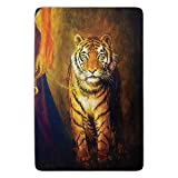 tgyew Bathroom Bath rug Kitchen Floor Mat Carpet,Safari Decor,Tiger on a Leash And Woman Walking Hand Dark Colors Oil Painting Effect Stripes,Flannel Microfiber Non-Slip Soft Absorbent