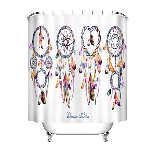 HHIAK666 Cortina De Ducha Boho Atrapasueños Blanco Baño Cortina Tejido De Poliéster Impermeable para Bañera Home Art Decor180 * 180 Cm