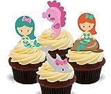 Aufrecht stehende essbare Kuchen- und Cupcake-Dekorationen im Design von Meerjungfrauen, Delfin und Seepferdchen, essbaren Kuchen Dekorationen., 12er-Pack