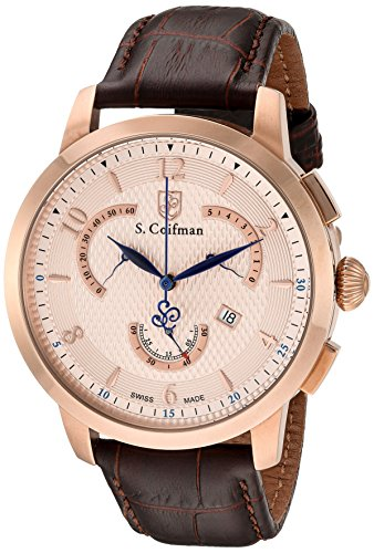 S. Coifman 'Men's' Swiss Quartz Stainless Steel and Leather Automatic Watch, Color:Brown (Model: SC0234)