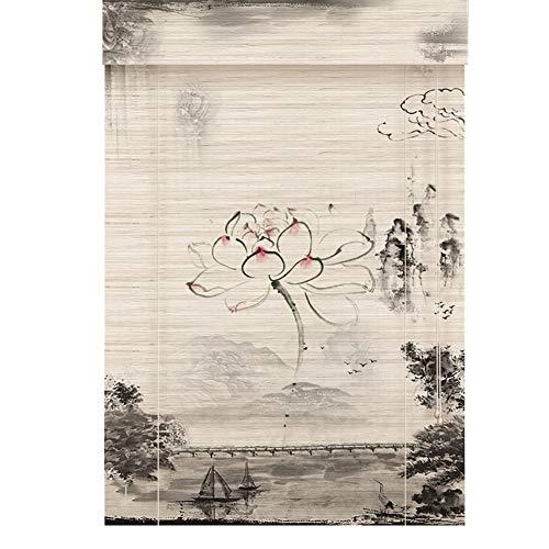 Estor enrollable YXX Persianas enrollables Cortadas en bambú, Cortinas de filtrado de luz de Estilo japonés, privacidad, Levantamiento de Protector Solar, fácil de Colgar (Size : 80cmx100cm)