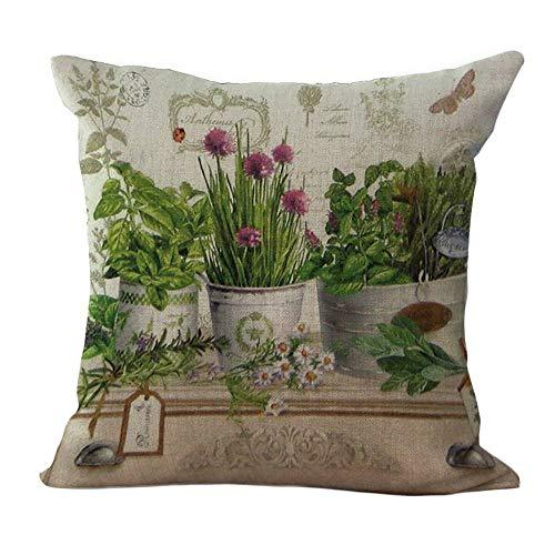 chezmax Leinen-Mischgewebe Blumen Druck Muster Kissen Baumwolle, quadratisch, dekorativer Überwurf-Kissenbezug 45,7x 45,7cm, Patten 6, WITHOUT FILLER -