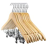 Tebery 10-Pack Wooden Pant Hanger, Wooden Suit Hangers with Steel Clips and Hooks, Natural Wood Collection Skirt Hangers, Standard Clothes Hangers