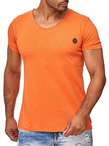 Herren T-Shirt Casual V-Neck Basic Shirt Orange M