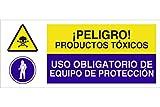 Cofan CAO06PL717297 - Señal de seguridad¡Peligro! Productos Tóxicos/Uso Obligatorio De Equipo De Protección
