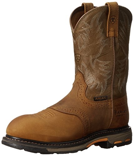 Ariat Men's Workhog Pull-on Composite Toe Work Boot, Aged Bark/Army Green, 9.5 2E US (' Fashion Stiefel Ariat)