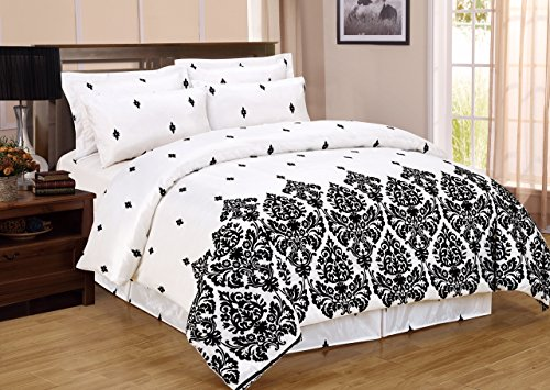 Un elegante Rich Floral Flocking 4 pezzi completo Set per letto matrimoniale, 1 copripiumino, 1 federa cuscino volant& 2, colore: bianco, Bianco, (220 X 230 CM) King