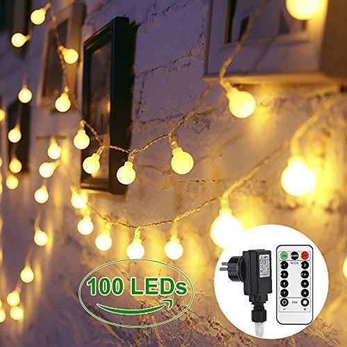 Lichterkette Glühbirnen 100 LEDs GREEMPIRE Innen und Außen Lichterkette Strombetrieben Outdoor für Garten Kinderzimmer mit Fernbedienung 13.3M EU Stecker Wasserdicht für Balkon Party (Warmweiß) (Globe-string-lichter Im Freien)