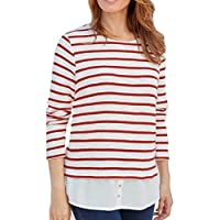 TopsandDresses Ladies Striped Knit Sweater Top with Hem in Navy or red in UK Women