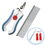 Nifogo Coupe Griffes Ongles & Peigne Toilettage pour Chien Chat - Professionnelle Doigt Brosse & Lime à Ongles Gratuite pour Moyen Grand Animaux, Avoid Over-Cutting Claw Tool (Coupe Ongles-Blue)