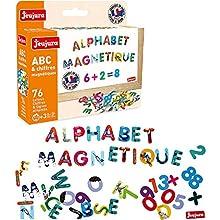 Jeujura - 8970-Tableau en Bois-Abc et Chiffres Magnetiques Les Animaux - Coffret de 76 Caracteres