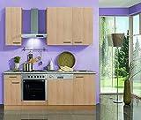 idealShopping Küchenblock mit Elektrogeräten Klassik 60 in Buche Nachbildung 210 cm breit
