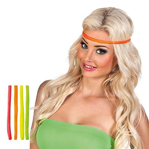 on-Stirnbänder 4 Stück Bunt Einheitsgröße (Neon 80er Jahre)