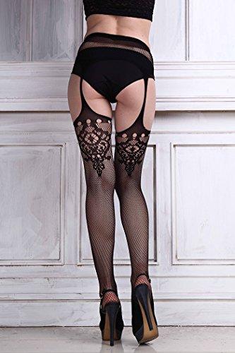 IHRKleid Sexy Femmes Lingerie en dentelle net Ceinture Cuisse Bas Collant Noir