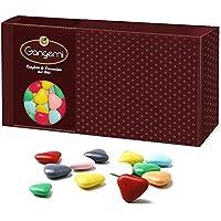 Gangemi Confetti - 1kg Corazones Peladillas, grageas de chocolate Alta calidad - Clásicos Italianos de la boda, bautismo - Colores mezclados