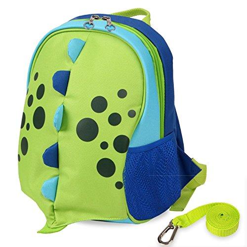 Playful yodo-scatole porta pranzo preshool borsa o zaino per bambini, con imbracatura e guinzaglio di sicurezza, fodera termica interna verde verde