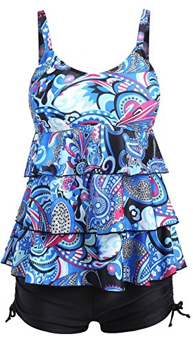 Ecupper Womens 2 Piece Tankini Sets Ruffled Flounce Swimsuits with Boyshorts