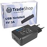 Trade-Shop Universal 5V 3A USB Netzteil Reiseadapter Netzstecker Stecker Ladegerät USB-Adapter Flach für Samsung Galaxy S2 S3 S4 S5 Mini i9300 i9600 SM-G900 Note 2 3 N7100 N9000 GalaxyTab Tab 2 3