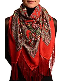 """Red """"Plyaski"""" Slavonic Russian Folk Style Shawl - Red Floral Scarf"""