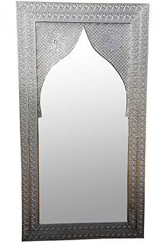 Orient Spiegel Wandspiegel Balqis 140cm groß Silber | Großer Marokkanischer Flurspiegel mit...