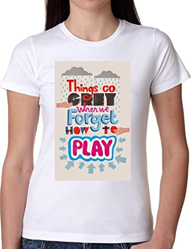 T SHIRT JODE GIRL GGG22 Z1473 THINGS GRAY FORGET HOW TO PLAY LIFESTYLE FASHION COOL BIANCA - WHITE