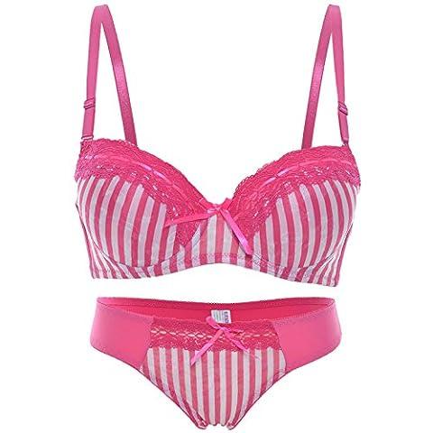 Komfort Damen Push UP Set Slip Bügel Abnehmbare Träger Vollschalen Stretch 20975, Farbe:Pink;Unterbrustweite:90;Cup-Größe:B