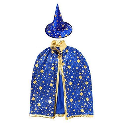 Jungen Kinder Vergoldung Stern Umhang Party Hut Hexe Halloween Fancy Party Rep, blau, 80 cm ()