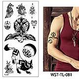 adgkitb 4 Piezas Hoja de joyería de esternón para Mujer Tatuaje Temporal Cuerpo Pecho Cintura Arte Tatuaje Pegatina Fresco Gargantilla Colgante bajo diseños de Mama TL81 19x9 cm