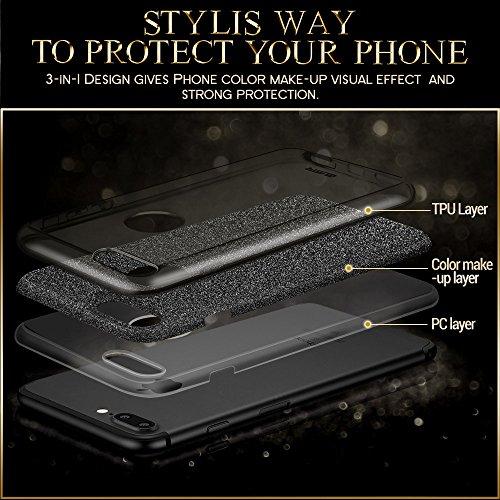iPhone 7 Plus Hülle, ESR® Glitzer Hybrid Schutzhülle [Drei Schichten in einem] [Weiche TPU Abdeckung + Glitzer Papier + PC innere Schicht] iPhone 7 Plus Bumper Case Hülle für iPhone 7 Plus (5,5 Zoll)  Schwarz