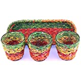 Recycled Candy Wrapper Eco-Friendly Vases With Tray (Set Of 3) By Kraft Seeds