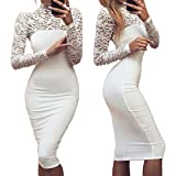 Longwu Women's Classicial Floral Lace Long Sleeve Slim Formal Mini Dress White-L