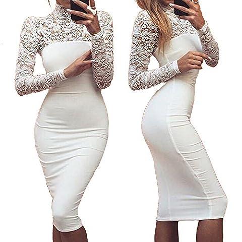 Longwu Women's Classicial Floral Lace Long Sleeve Slim Formal Mini Dress White-S