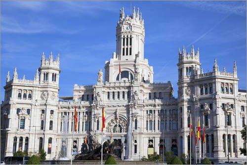 Posterlounge Leinwandbild 150 x 100 cm: Cibeles-Palast in Madrid von Editors Choice - fertiges Wandbild, Bild auf Keilrahmen, Fertigbild auf echter Leinwand, Leinwanddruck