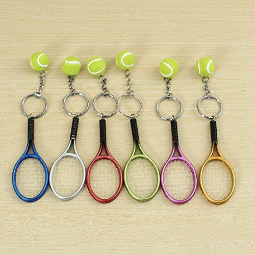 ChaRLes Multi-Farbe Sport Tennis Ball Rackacket Key Chain Collectable Key Rings - Grün