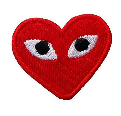 1 X PLAY COMME des GARCONS Red Heart Eyes Cap Polo Backpack Clothing Jacket Shirt DIY Embroidered Iron On / Sew On Patch by BKKPatch