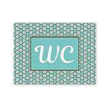 1 Stück WC-Schild Toiletten-Schild Klo-Schild in modernem türkis braun weiß - neutral -Vintage Muster Look für Frauen und Männer; 15 x 11 cm inkl. Klebepunkte, Aluminiumverbundplatte …