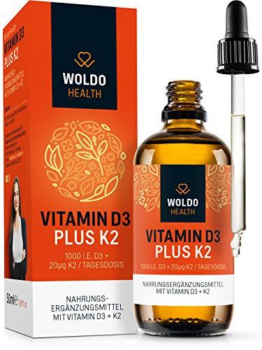 Vitamin D3+K2 Tropfen hochdosiert Vegetarisch – 20µg K-2 Vitamin 99,7% MK7 All-Trans & 1.000I.E D-3 pro Tropfen 50ml laborgeprüftes hoch bioverfügbare Vitamine