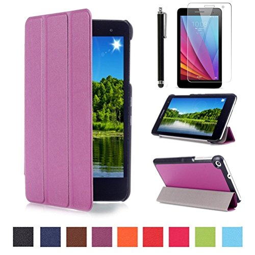 Huawei MediaPad T1 7.0 Slim Smart Hülle Case - PU Leder Schutzhülle Case für Huawei Mediapad T1 7.0 Zoll Tablet Tasche Etui Sleeve Smart Cover mit Magnetic Magnet & Standfunktion + Bildschirmschutzfolien & Stylus,Lila