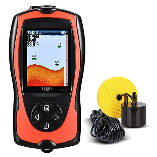 Aidashine Tragbare Fish Finder Handheld Kayak Fish Finder Wired Fish Depth Finder Sonar-Sensor-Wandler für Bootsangeln Meeresangeln Farb-display Fishfinder