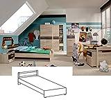 Wimex Bett/ Doppelbett Game, Liegefläche 90x200 cm, Eiche Sägegrau/ Absetzung Lavafarbig
