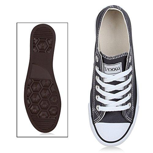 Japado Bequeme Unisex Sneakers Low-Cut Modell Basic Freizeit Schuhe Viele Farben Gr. 36-45 Dunkelgrau
